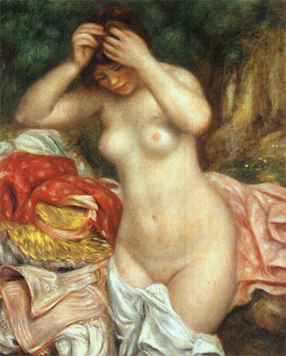 Bather Arranging her Hair by Pierre-Auguste Renoir