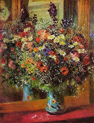Bouquet in front of a Mirror by Pierre-Auguste Renoir
