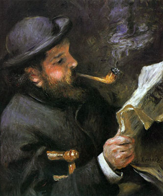 Claude Monet Reading by Pierre-Auguste Renoir