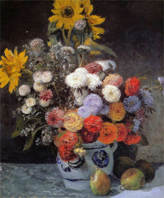 Flowers in a Vase (Mixed Flowers in an Earthenware Pot) by Pierre-Auguste Renoir