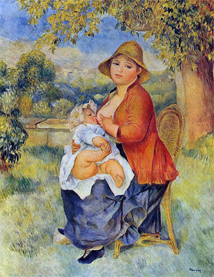 Mother and Child (Woman Breast Feeding Her Child) by Pierre-Auguste Renoir