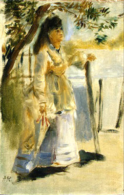 Woman by a Fence by Pierre-Auguste Renoir