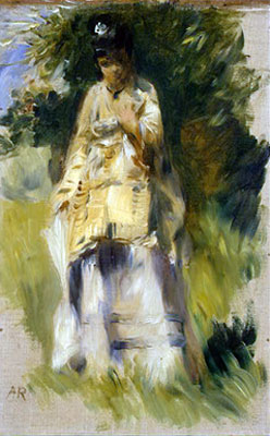 Woman Standing by a Tree by Pierre-Auguste Renoir