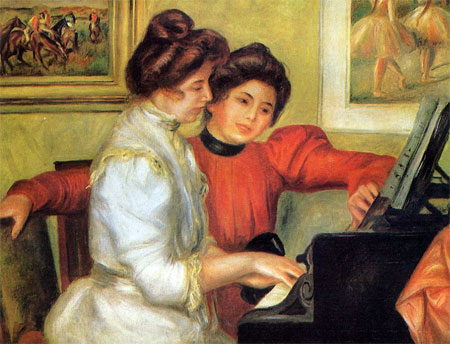 Yvonne and Christine Lerolle Playing the Piano by Pierre-Auguste Renoir